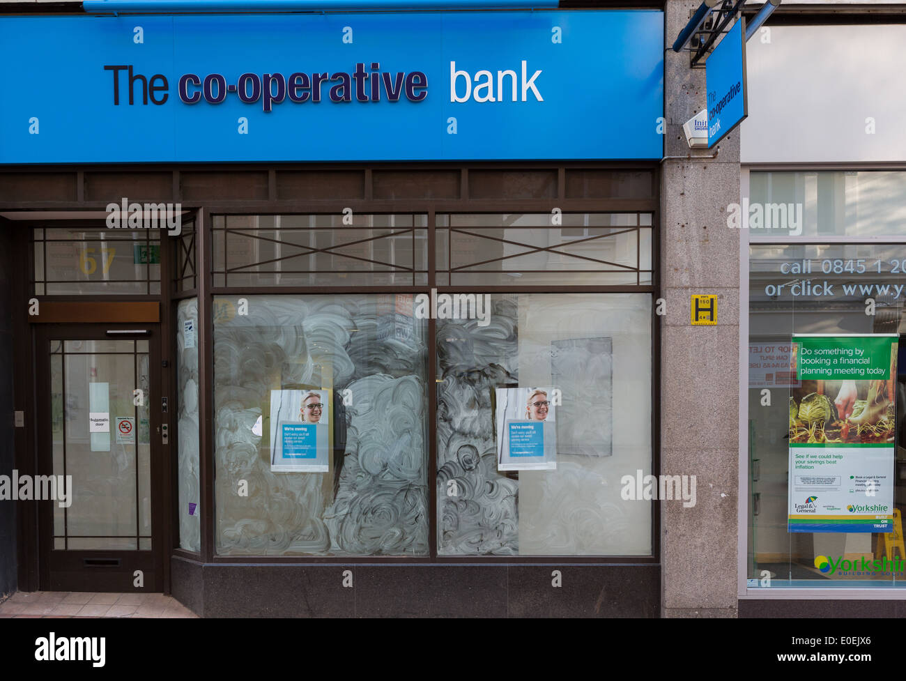 The front of a closed-down branch of the Co-operative Bank - Stock Image