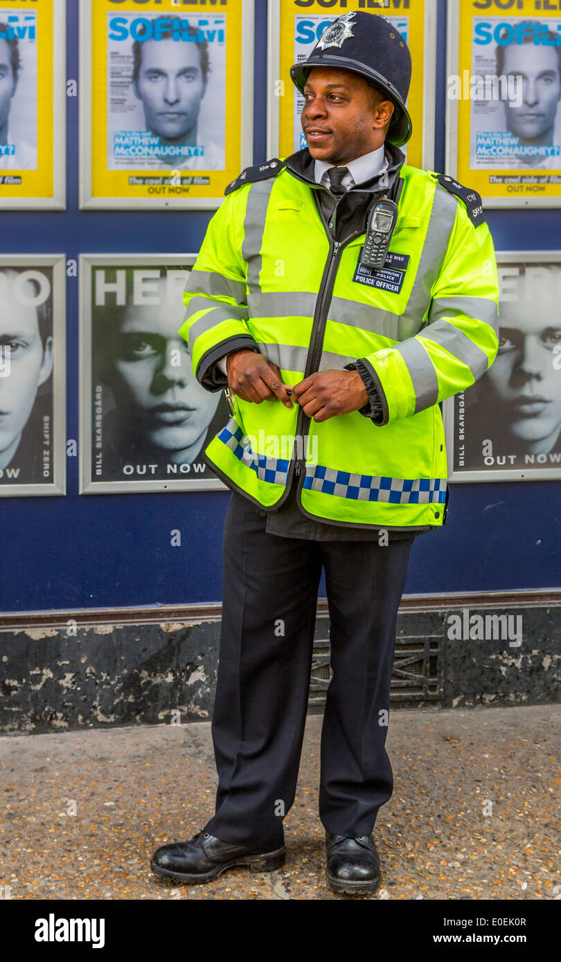 A Metropolitan Police Officer on the beat in the West End of London England UK - Stock Image