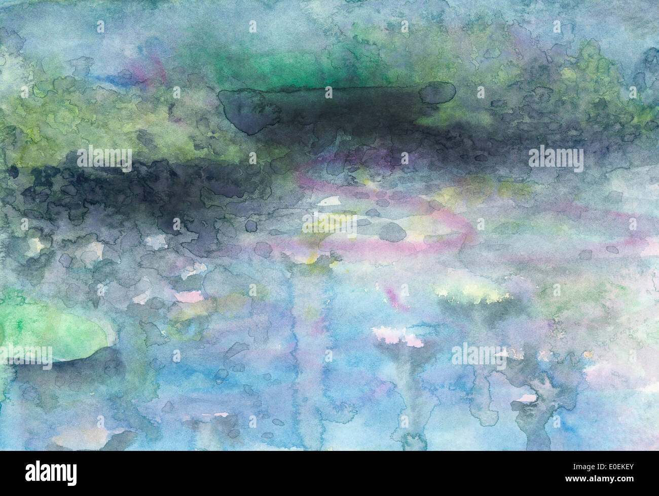 Waterlily pond. Watercolor landscape pond with waterlilies. - Stock Image