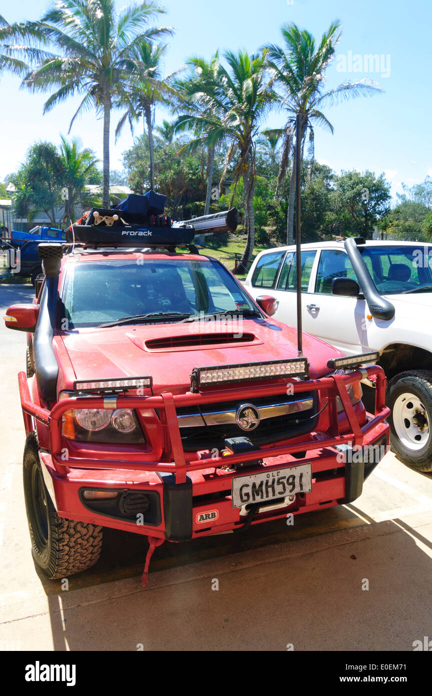 Red 4 Wheel Drive, Eurong, Fraser Island, Queensland, QLD, Australia - Stock Image
