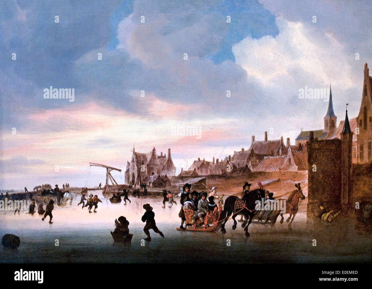 A Winter Landscape with Skaters and Sleighs before a Town 1660 Salomon Jacobsz. van Ruysdael 1600-1670 Dutch Netherlands Stock Photo