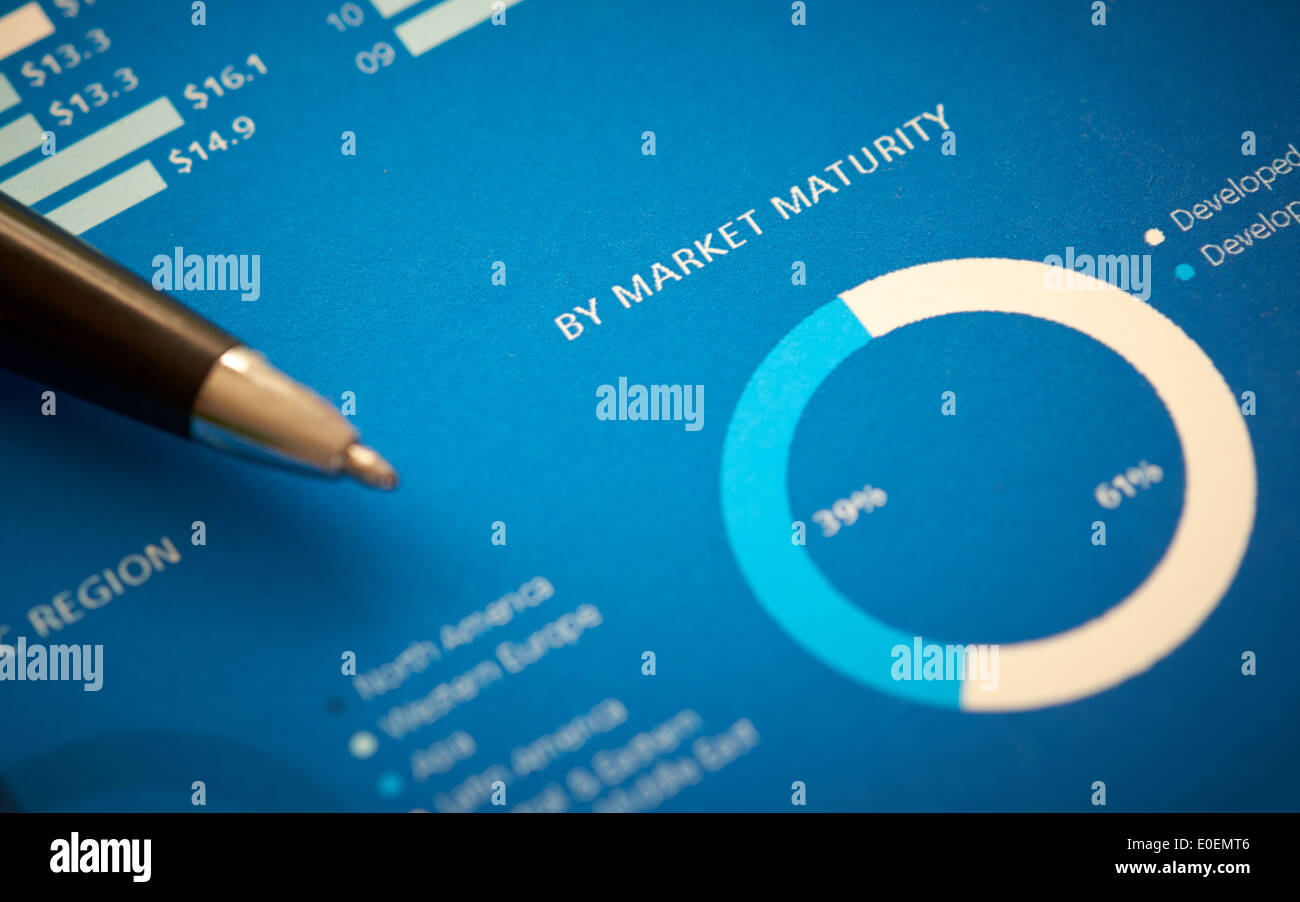 A close up of a business annual report on market maturity. - Stock Image