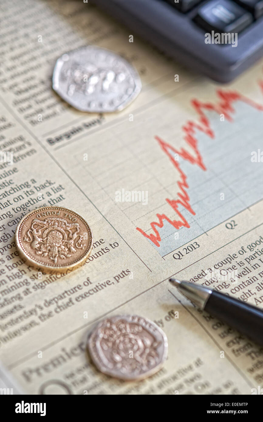A close up of a newspaper showing the performance of shares on the stock market. - Stock Image