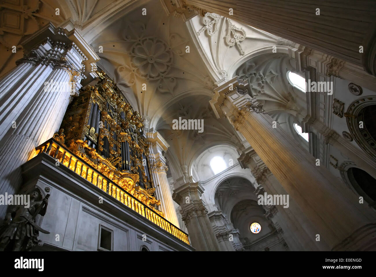 Beam of light, interior of Granada Cathedral (Cathedral of the Incarnation), Granada, Spain - Stock Image