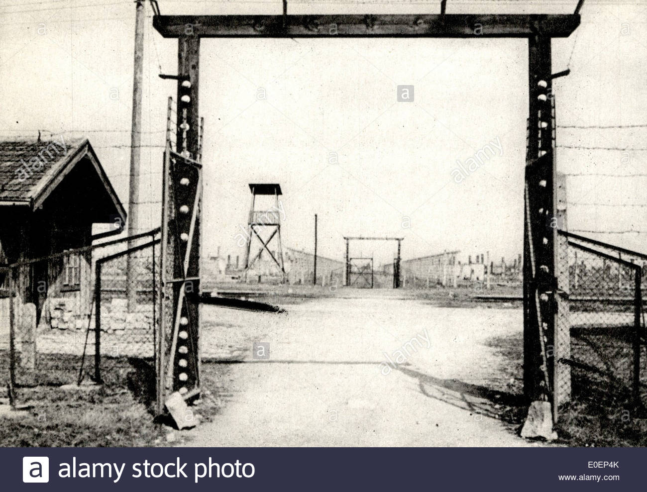 Auschwitz concentration camp (German: Konzentrationslager Auschwitz) - old photograph - Stock Image
