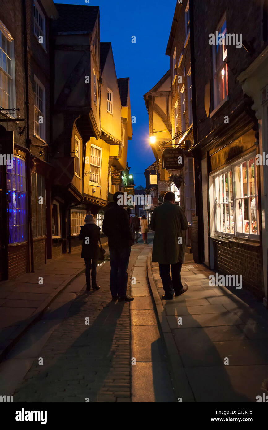 The famous 'Shambles' in York, England at night. One of the oldest and certainly the prettiest street in this historic town. - Stock Image