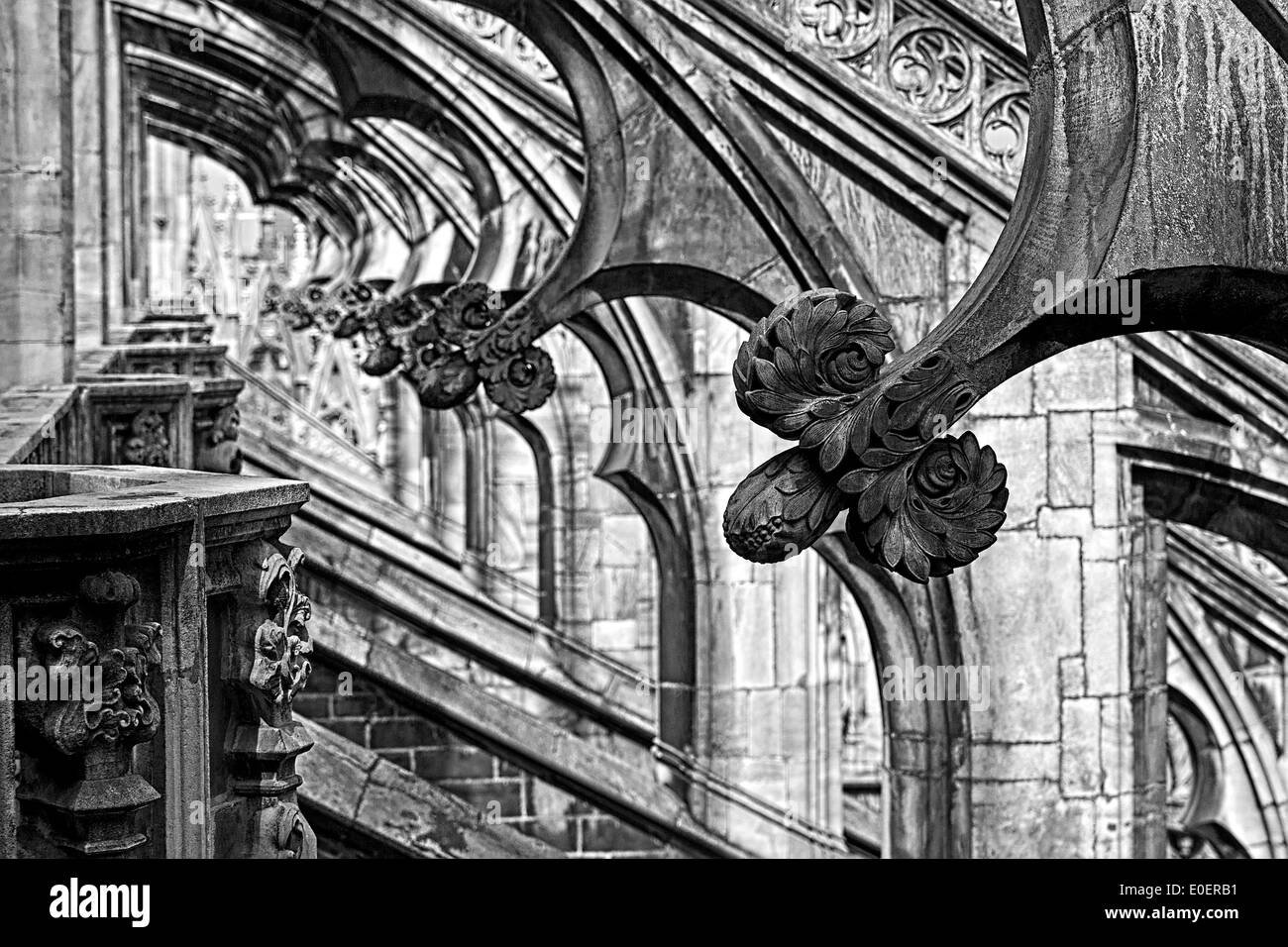 Ornaments on flying buttresses, Milan Cathedral (Duomo di Milano), Milan, Italy - Stock Image
