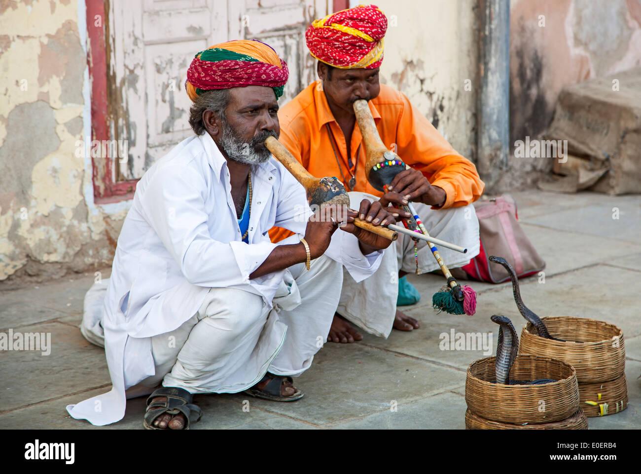 Snake charmers, Jaipur, Rajasthan, India - Stock Image
