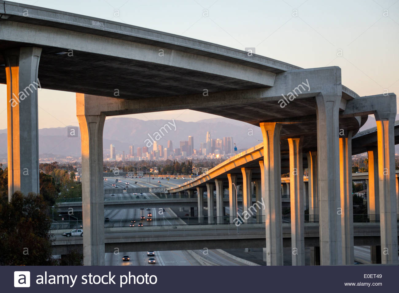 Los Angeles California CA L.A. Interstate 110 105 I-110 I-105 Harbor Freeway highway overpass freeway motorway interchange junction elevated roadway c - Stock Image