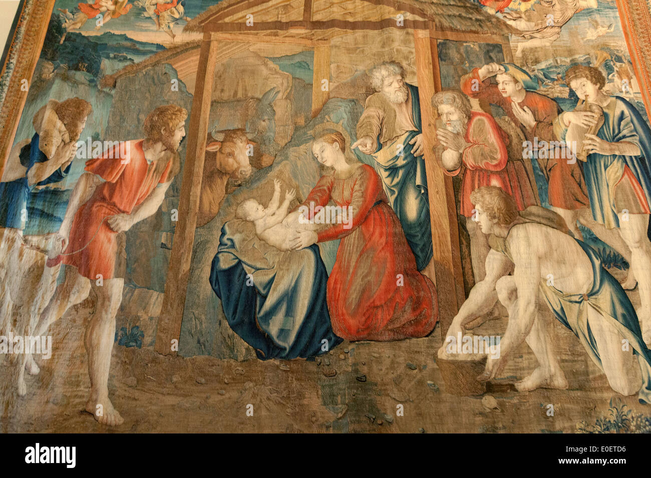 Tapestry showing the birth of Jesus Christ, the Gallery of Tapestries, Vatican Museums, Vatican City, Rome Italy - Stock Image
