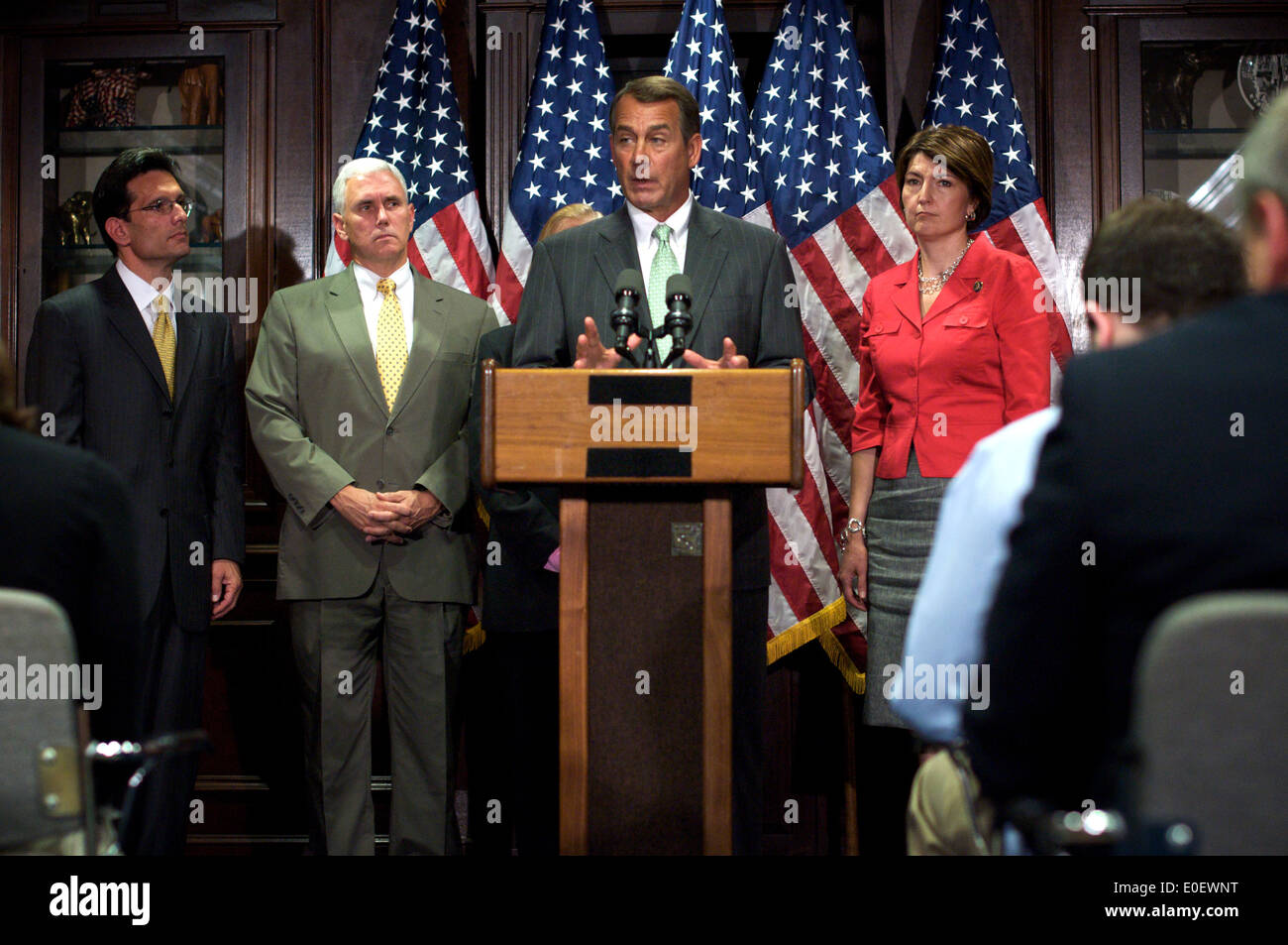 US House Minority Leader Rep. John Boehner holds a press conference to announce four appointments to the 10-member Financial Crisis Inquiry Commission that Congress established to investigate the causes of the financial crisis and the collapse of major financial institutions July 14, 2009 in Washington, DC. - Stock Image