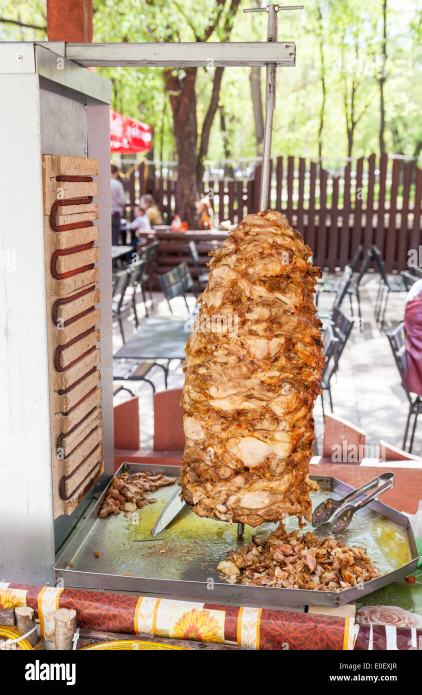 Shawarma is one of the most popular fast food dish in Middle Eastern Countries - Stock Image