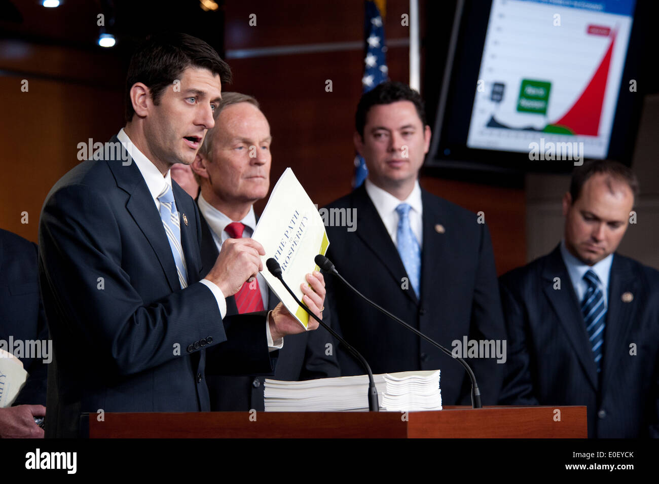 US House Budget Chairman Rep. Paul Ryan holds a press conference about the federal budget stalemate and his 'Path to Prosperity' proposal April 5, 2011 in Washington, DC. - Stock Image
