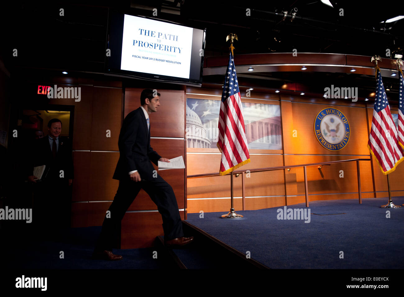 US House Budget Chairman Rep. Paul Ryan enters a press conference about the federal budget stalemate April 5, 2011 in Washington, DC. - Stock Image