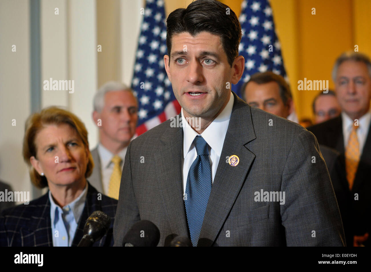US House member Rep. Paul Ryan holds a press conference about the federal budget stalemate March 20, 2010 in Washington, DC. - Stock Image