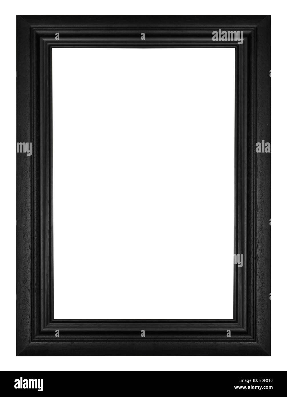 Picture frame black wood frame in white background. - Stock Image
