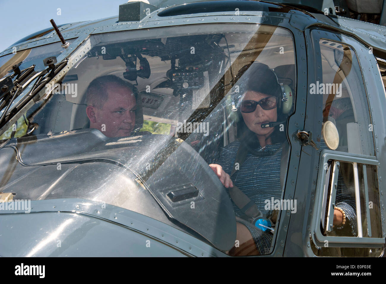South Carolina Governor Nikki Haley in a helicopter as she tours the Savannah River nuclear site April 21, 2014 in Aiken, SC. - Stock Image