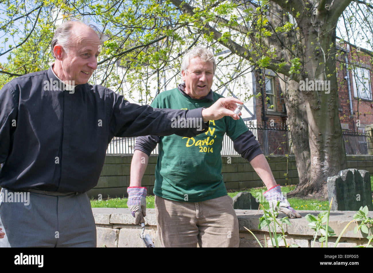 Rev Robert Williamson blessing, with holy water, vegetables  planted by High Grow Darlo Darlington north east England UK - Stock Image