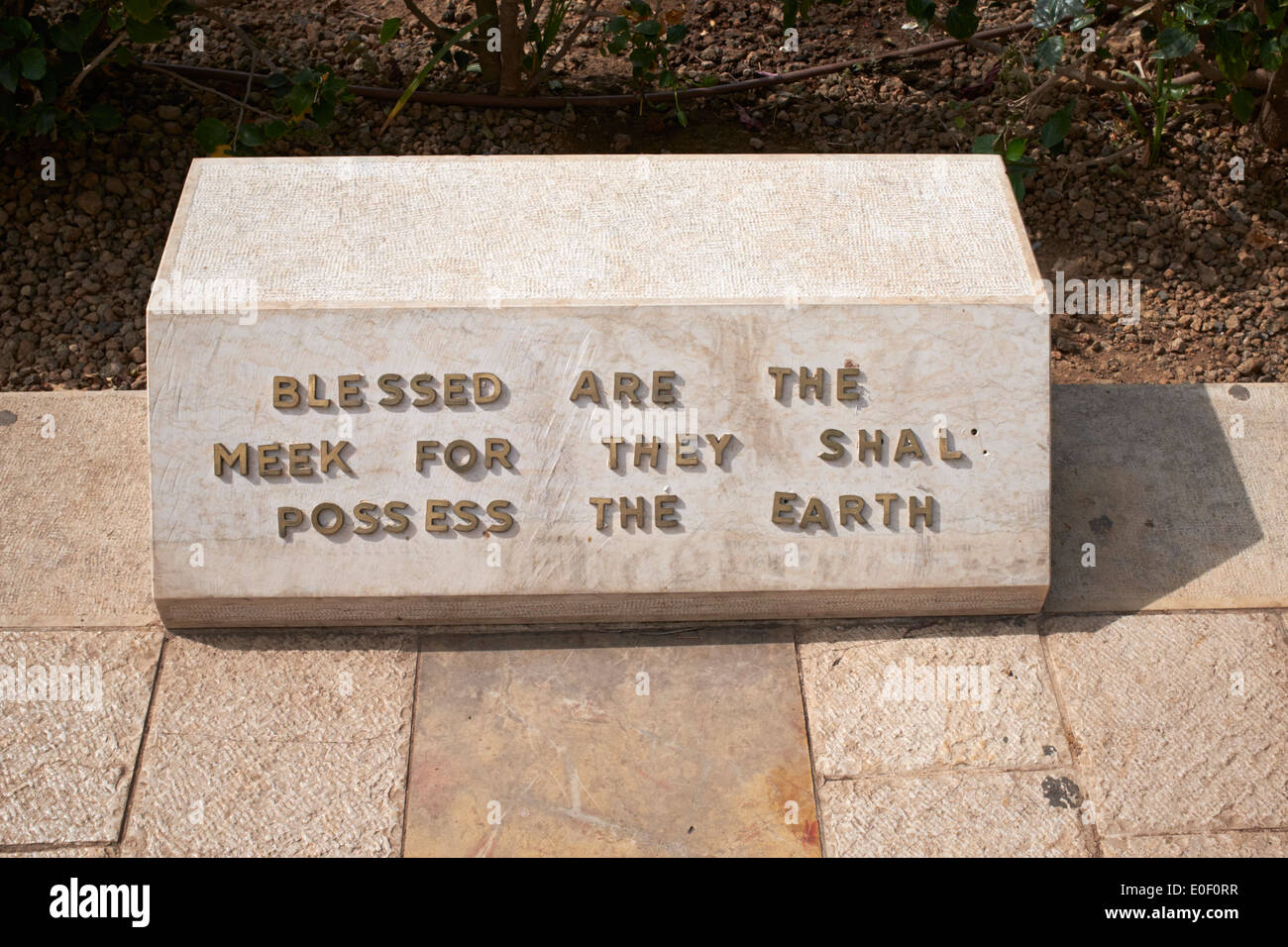 Blessed are the meek, for they shall possess the earth - Block on the Mount of Beatitudes Stock Photo