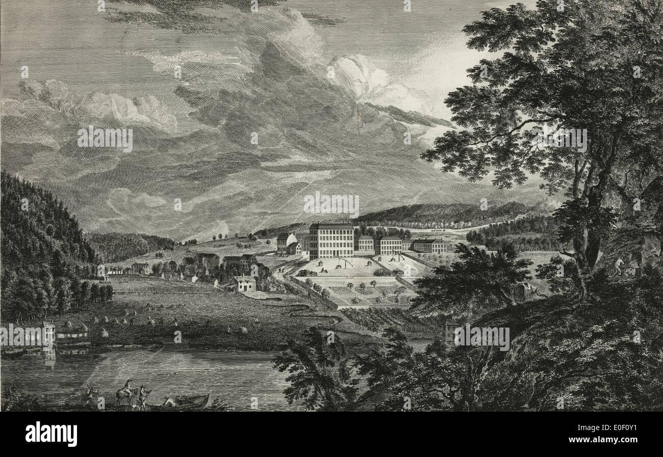 A view of Bethlehem, the great Moravian settlement in the province of Pennsylvania Vue de Bethlem, principal etablissement des Freres Moraves dans la province de Pennsylvania, 1761 - Stock Image