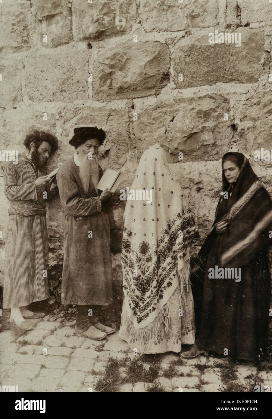 Jewish men stock photos jewish men stock images alamy two jewish men and two women standing in front of the wailing wall jerusalem 1908 publicscrutiny Images