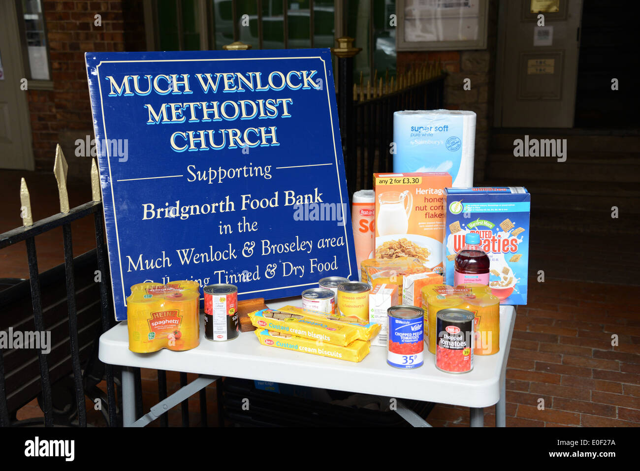 Collection for food bank, Much Wenlock, Shropshire, UK - Stock Image