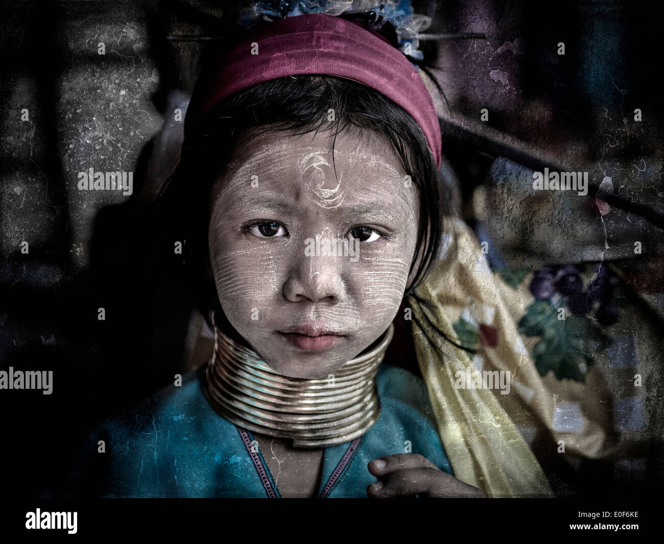 Thailand long neck Kayan hill tribe girl. Northern  Hill tribes - Stock Image