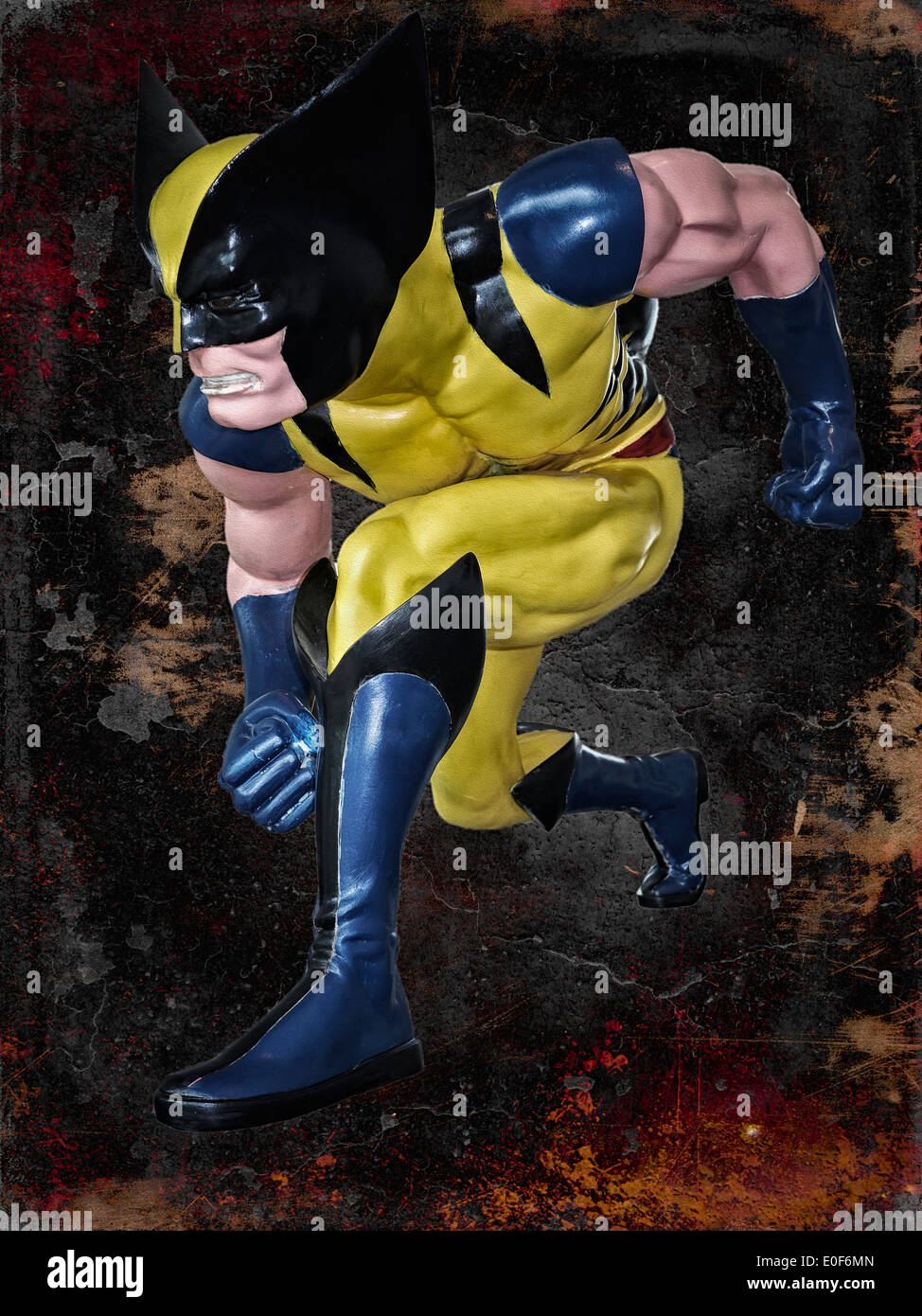 Painterly and grunge effect image of 'Wolverine', superhero figure. - Stock Image