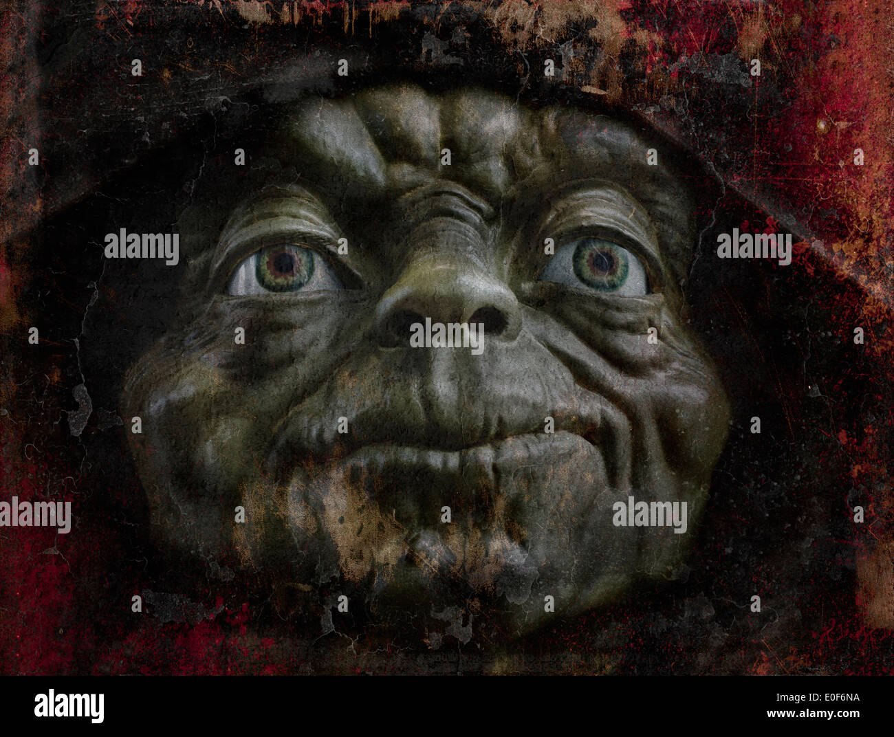 Painterly and grunge effect image of 'Master Yoda', Star Wars character. - Stock Image