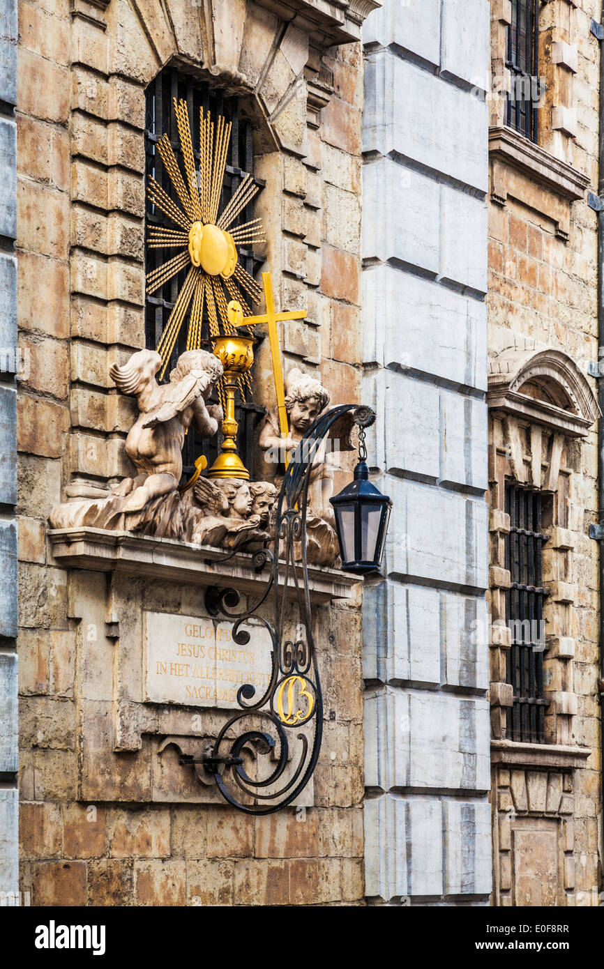 Religious shrine showing cherubs in Antwerp, Belgium. - Stock Image