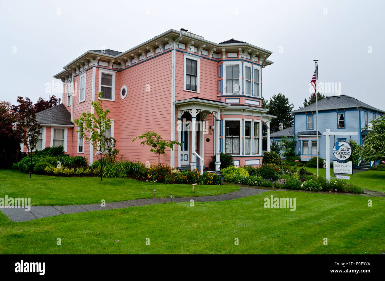 Victorian Style Blue Goose Inn Bed And Breakfast In Historic Coupeville On  Whidbey Island, Washington State. USA. Rural Town.