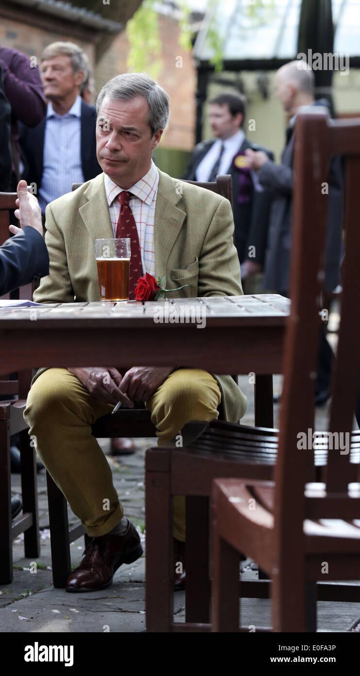 Leader of the UKIP Party, Nigel Farage MEP in the Black Bull pub, Yarm, Cleveland, UK. - Stock Image