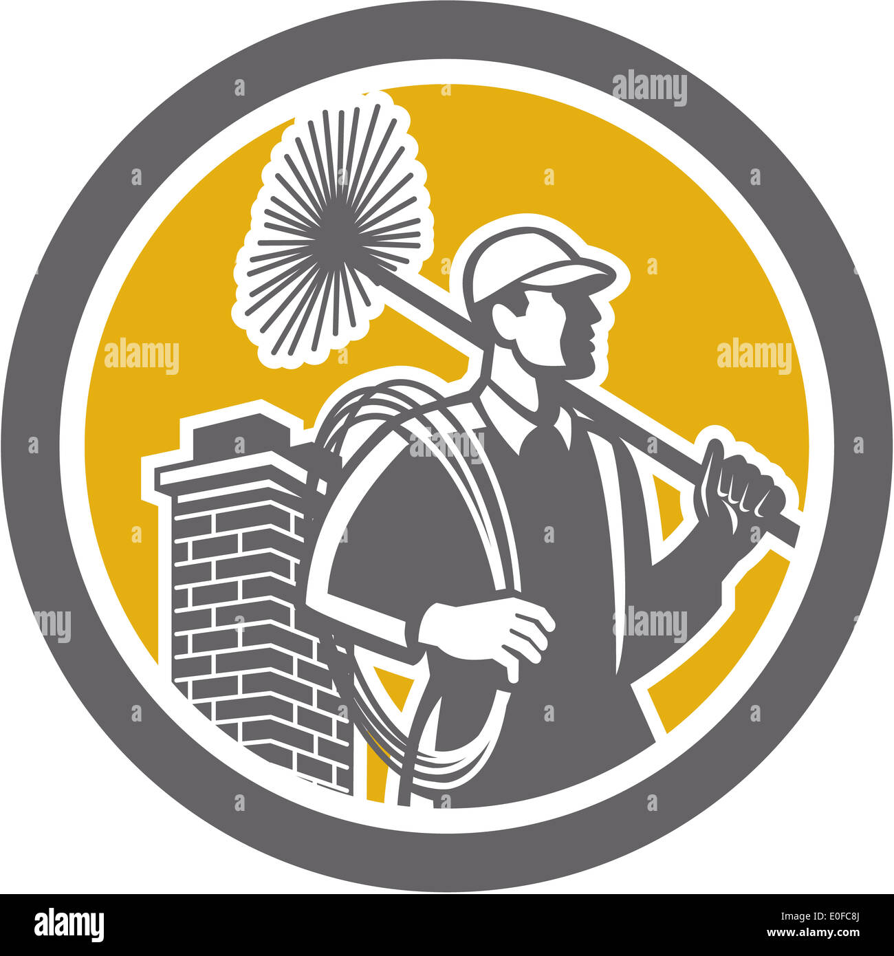 Illustration Of A Chimney Sweep Holding Sweeper And Rope Viewed From Side Set Inside Circle On