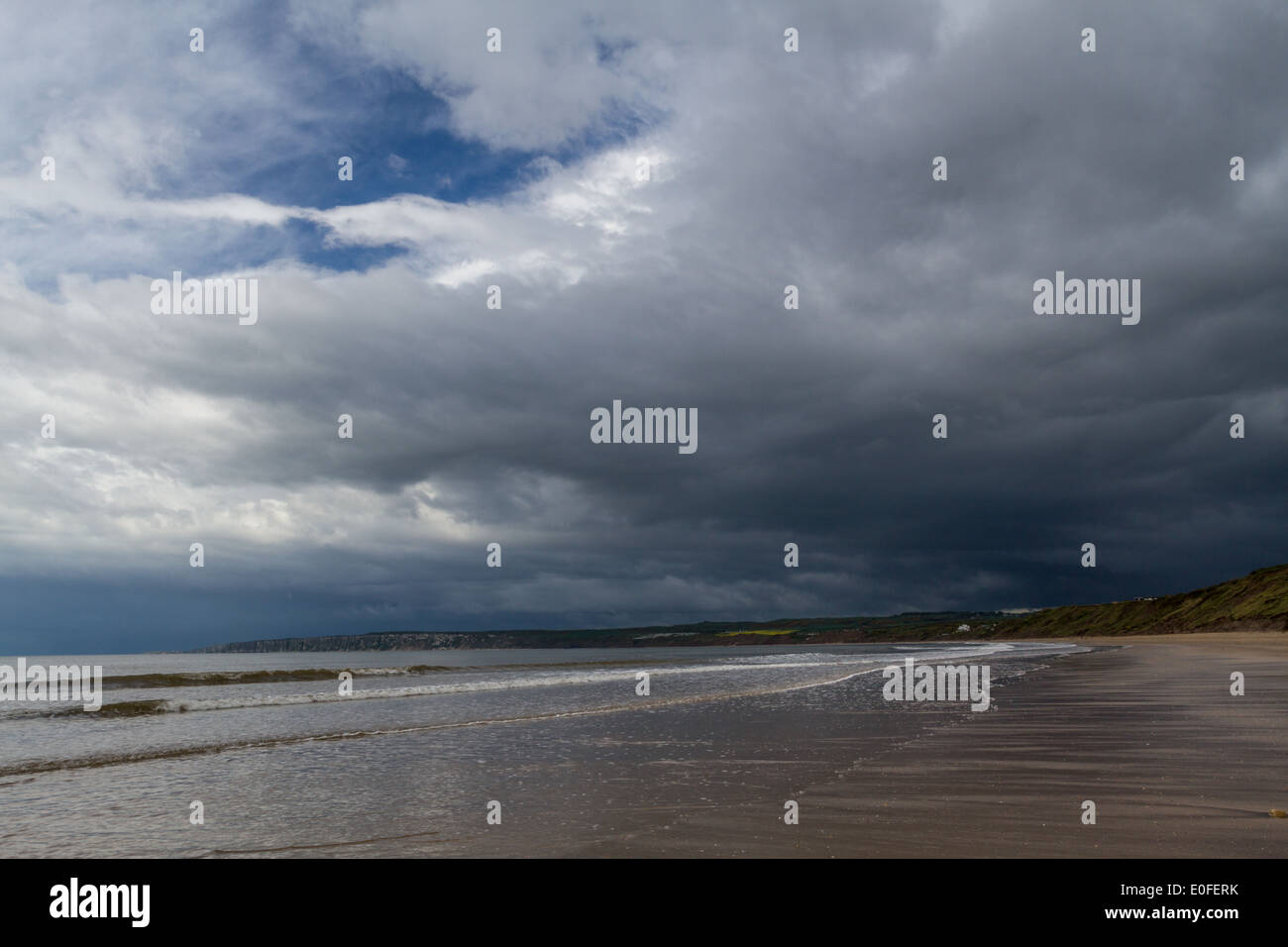 Filey on the Yorkshire coast as a thunder storm moves in, UK - Stock Image
