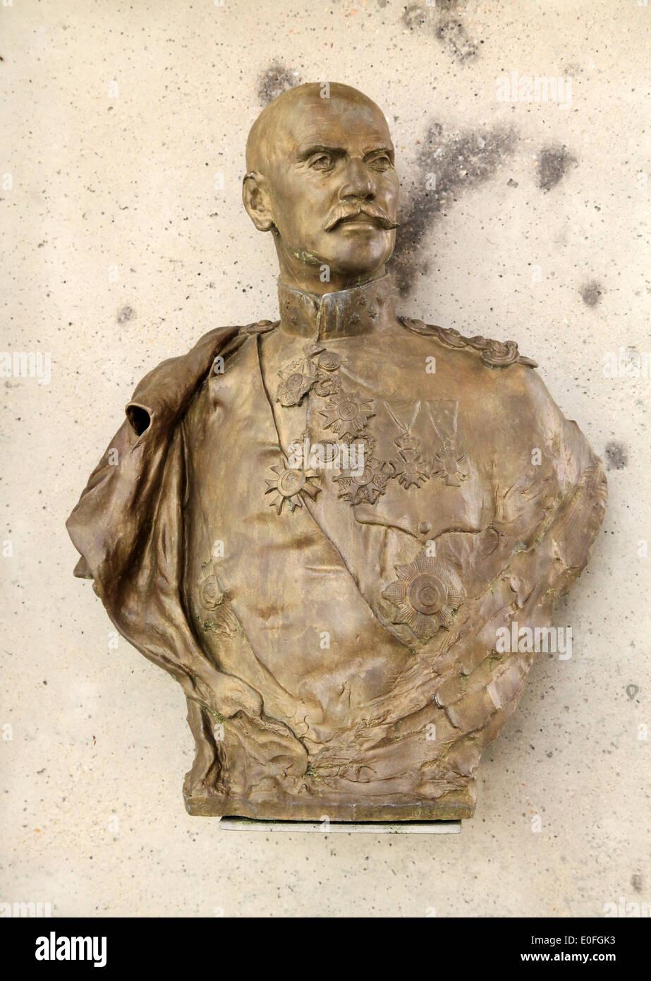 Statue of general Baron Jacques de Dixmude.War hero of Stavelot.1914-1918.Belgium. Stock Photo