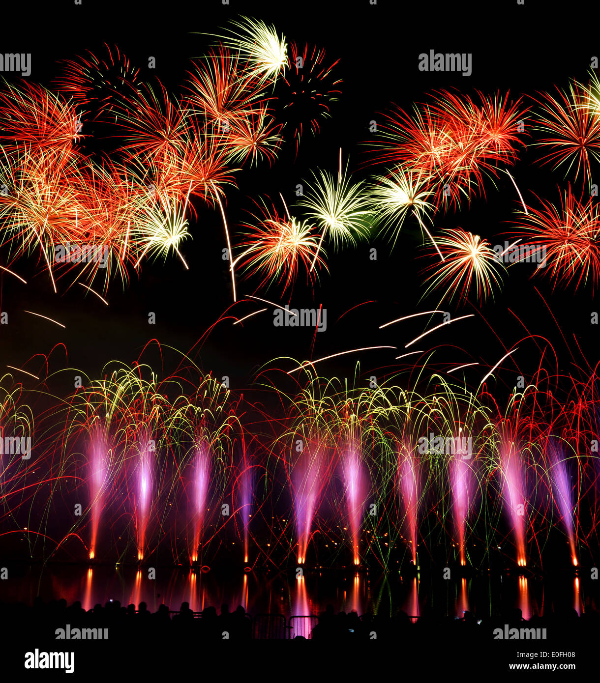 irework fireworks pyrotechnic explosive colorful event celecration show pyrotechnics Festival Quebec, Canada - Stock Image