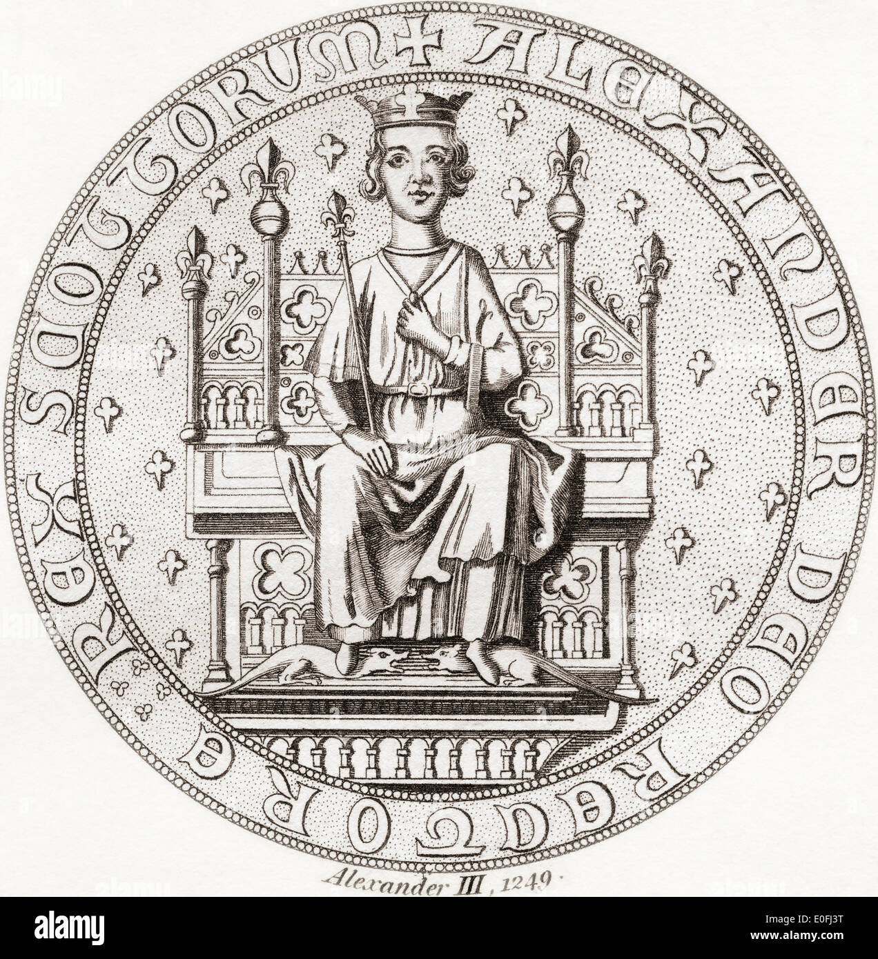 Seal of Alexander III, 1241 –1286. King of Scots. - Stock Image
