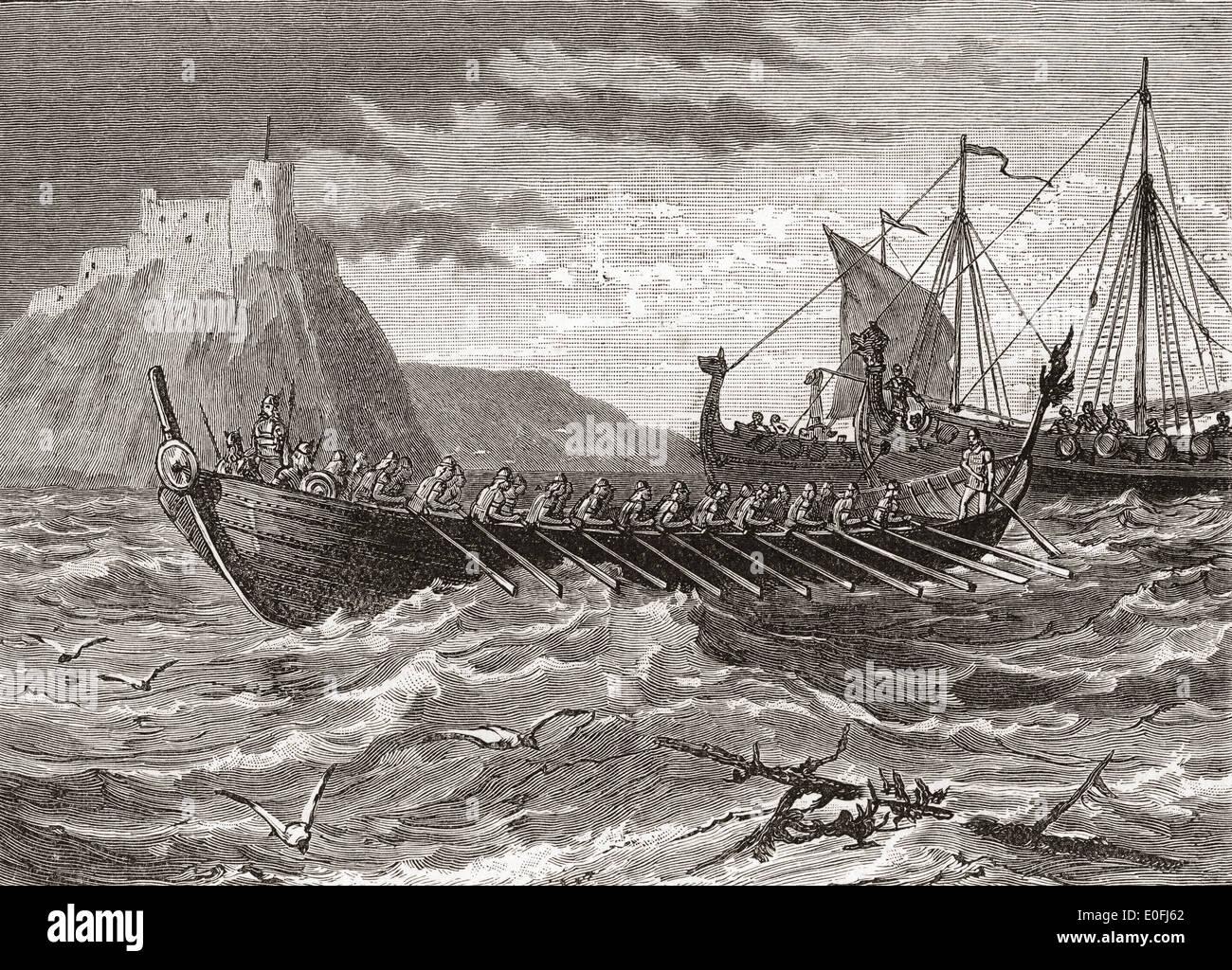 Danish ships in the 1st century. - Stock Image