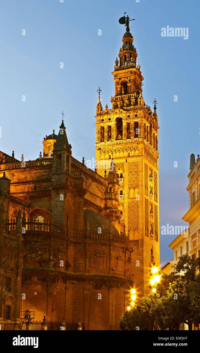 La Giralda Tower at twilight, Seville, Spain - Stock Image