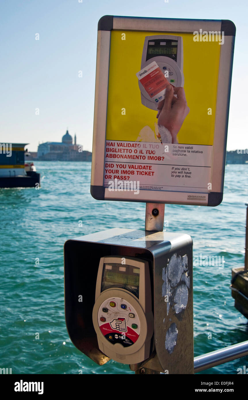 Machine to validate IMOB card for travel in on Vaporetto in Venice Italy - Stock Image