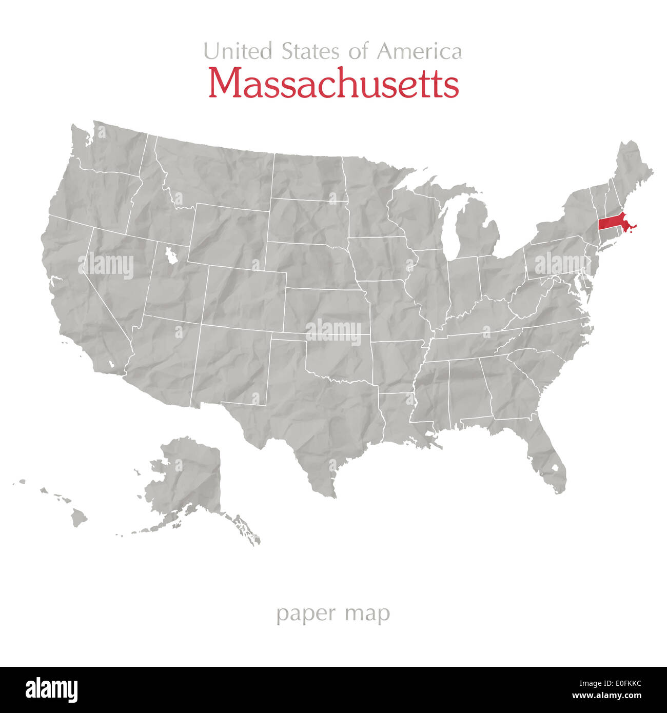 United States Of America Map And Massachusetts State Territory On