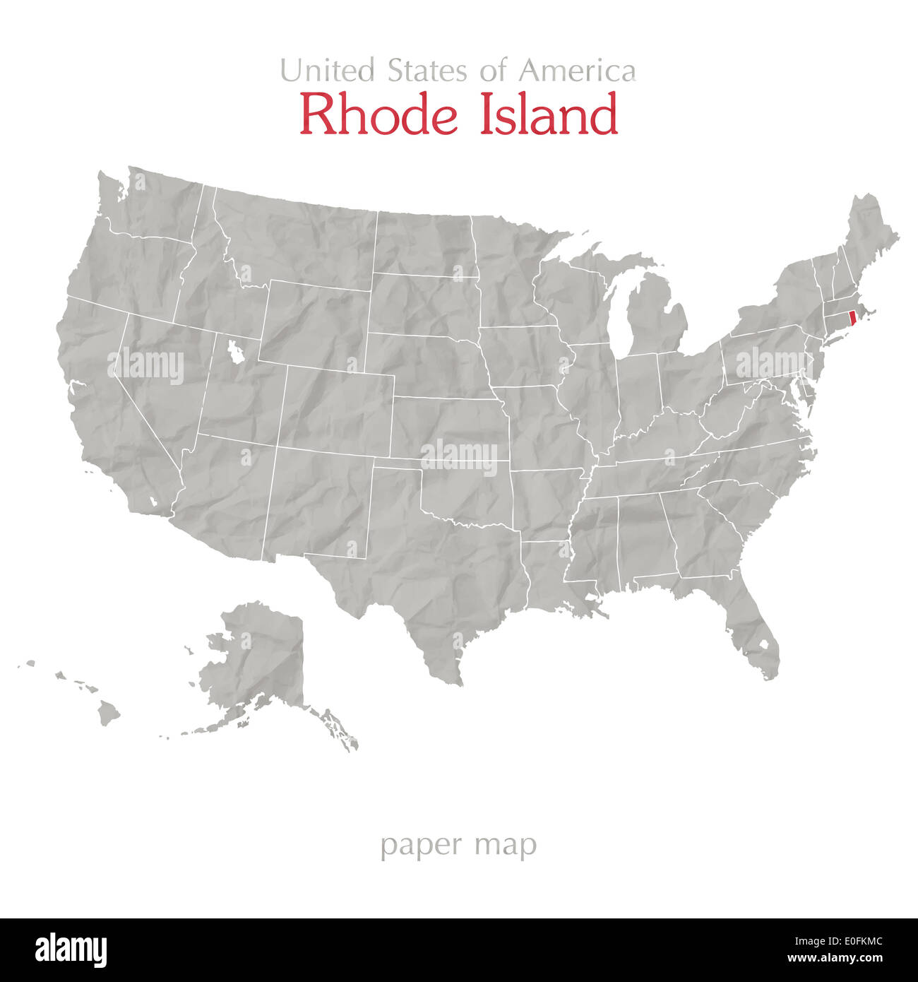 United States of America map and Rhode Island state territory on ...