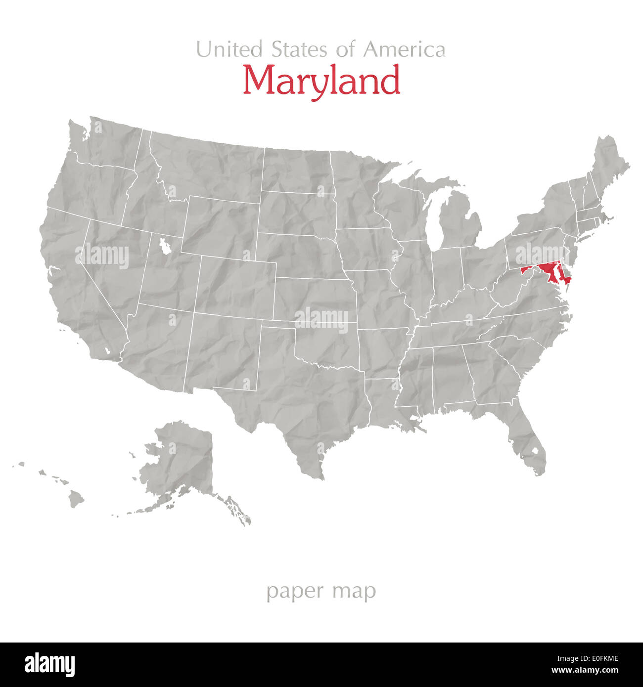 United States of America map and Maryland state territory on shabby ...