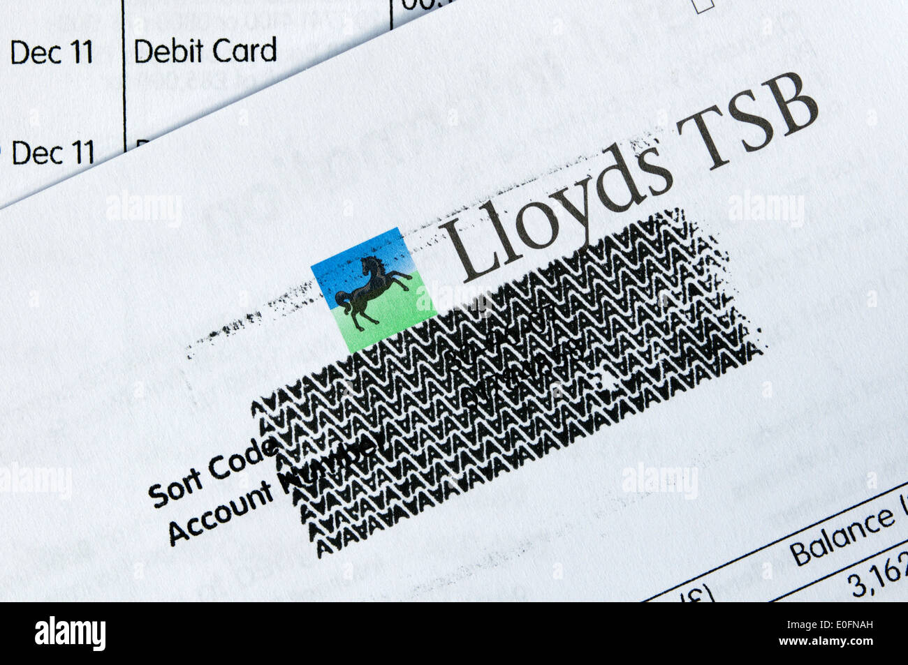 Personal financial details on a bank statement securely obscured before it is thrown away. - Stock Image