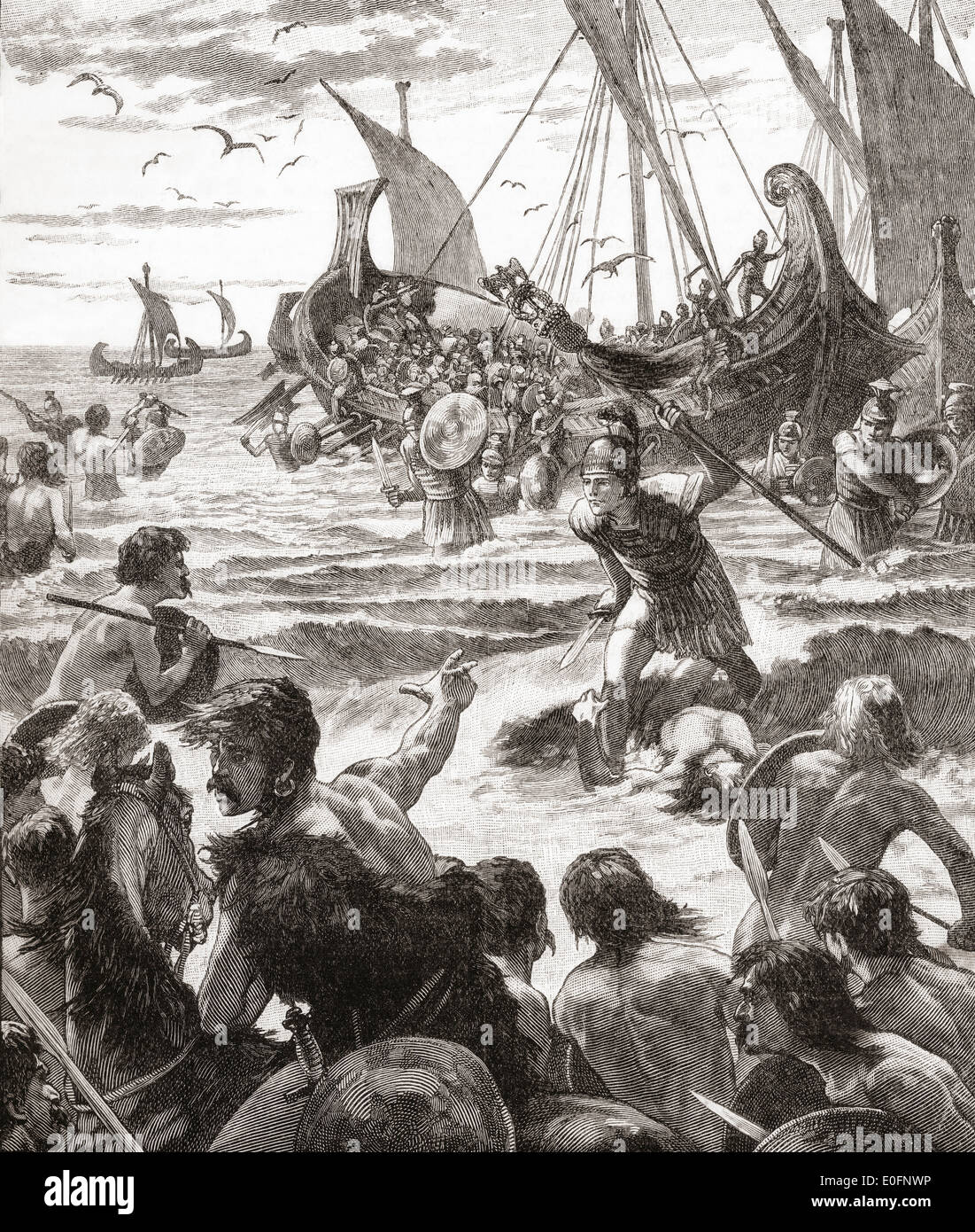 The landing of the Romans on the coast of Kent, England in AD43. - Stock Image