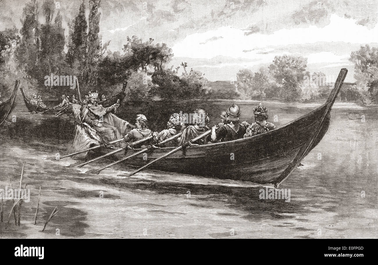 Edgar the Peaceful being rowed down the River Dee by eight kings - Stock Image