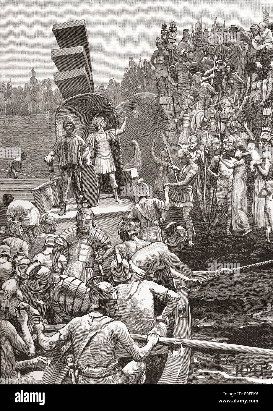 Roman soldiers leaving Briton in the 4th century. - Stock Image
