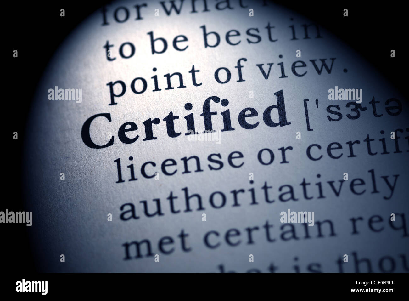 Fake Dictionary, Dictionary definition of the word certified. - Stock Image