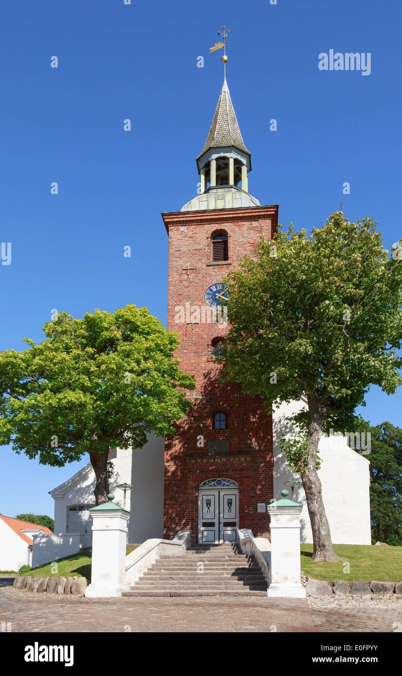 Steps at entrance to Ebeltoft Kirke a church dating to the 15th century. Grønningen, Ebeltoft, Jutland, Denmark, Stock Photo