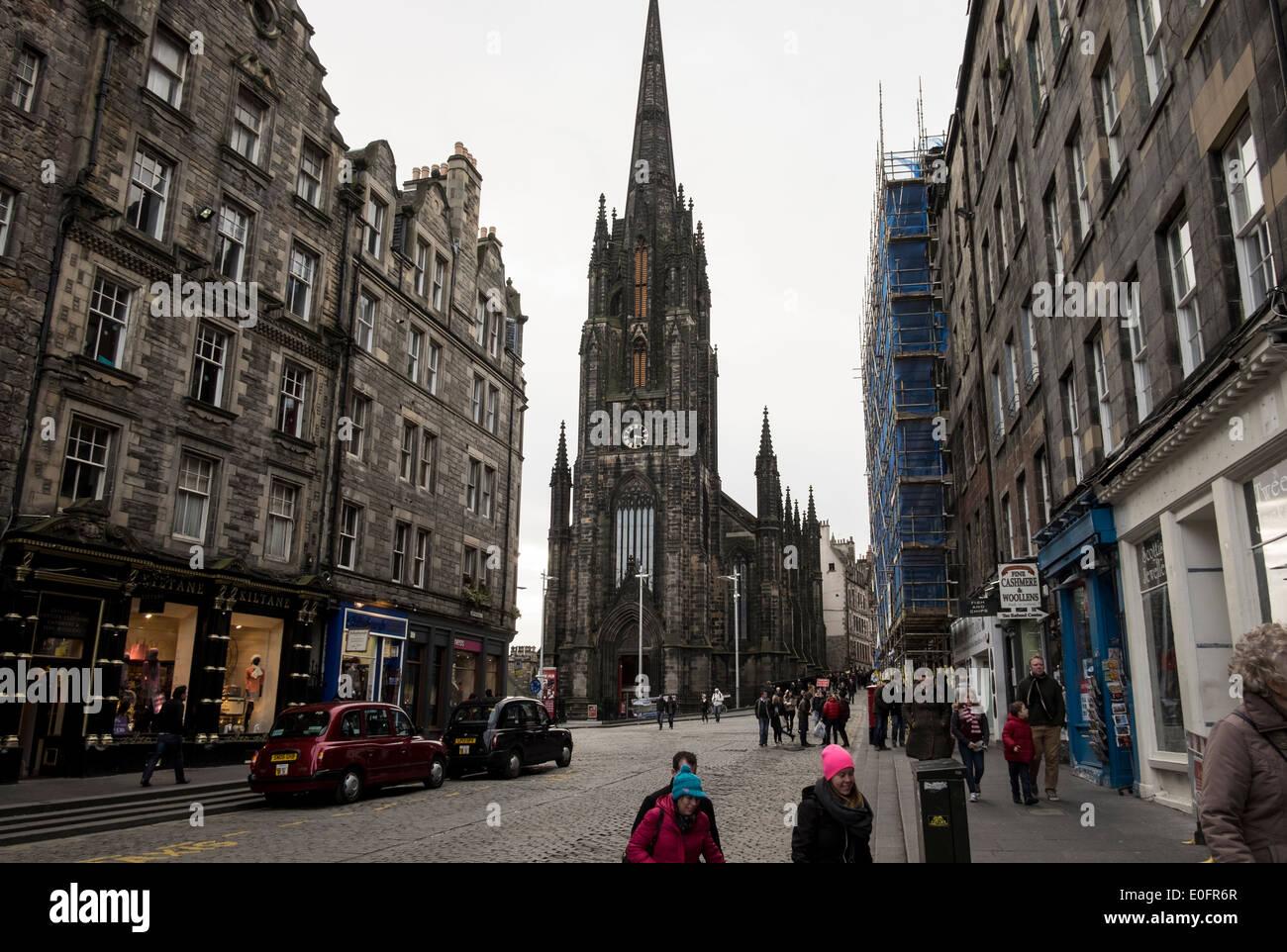 The Hub seen from the Lawnmarket, Edinburgh - Stock Image